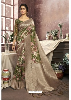 Forest Green Cotton Digital Printed Party Wear Saree
