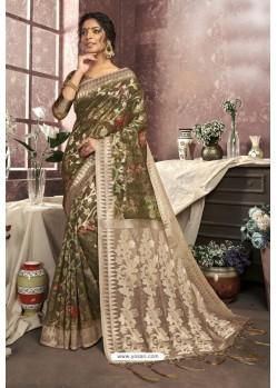 Mehendi Cotton Digital Printed Party Wear Saree