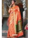 Orange Handloom Silk Party Wear Designer Saree