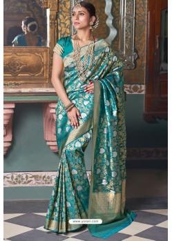 Teal Handloom Silk Party Wear Designer Saree