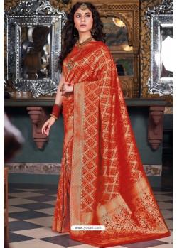 Red Handloom Silk Party Wear Designer Saree