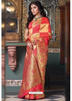 Multi Colour Handloom Silk Party Wear Designer Saree