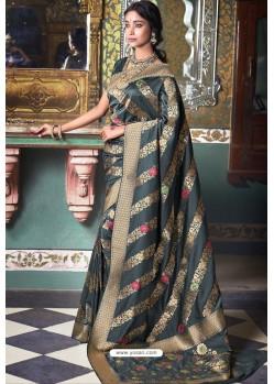 Dark Grey Handloom Silk Party Wear Designer Saree