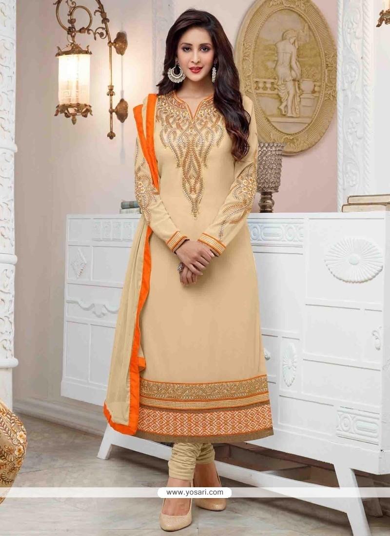 Spellbinding Cream Georgette Churidar Salwar Kameez