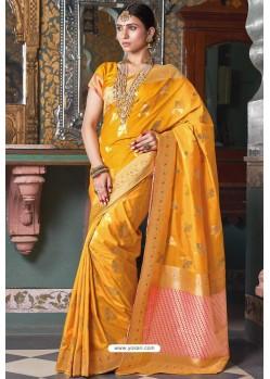 Yellow Handloom Silk Party Wear Designer Saree