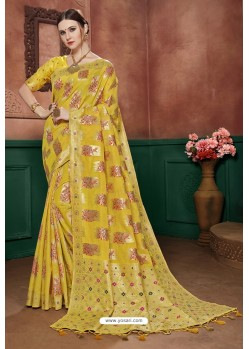 Yellow Banarasi Cotton Silk Designer Saree