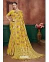 Yellow Banarasi Cotton Silk Designer Saree