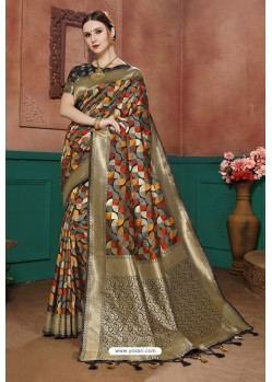 Multi Colour Banarasi Cotton Silk Designer Saree
