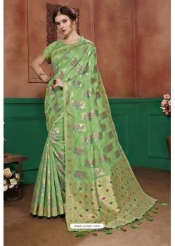 Green Banarasi Cotton Silk Designer Saree