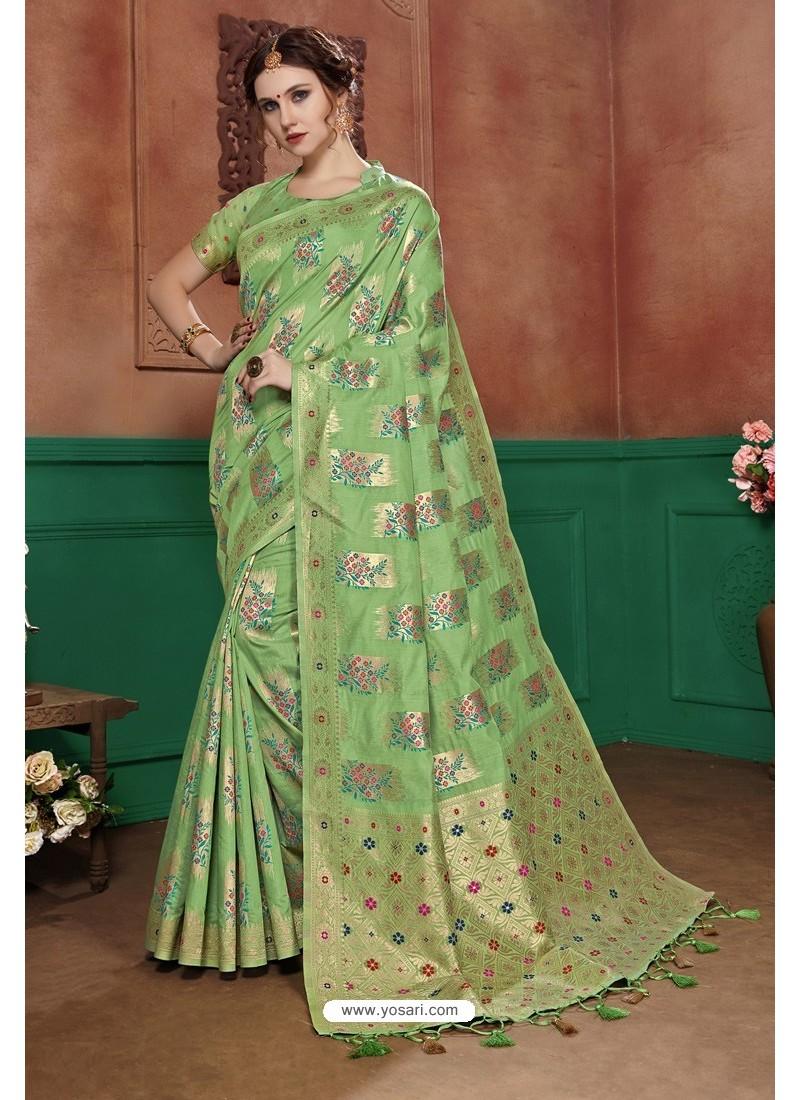 Green Banarasi Cotton Silk Designer Saree