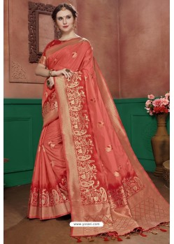 Light Red Banarasi Cotton Silk Designer Saree