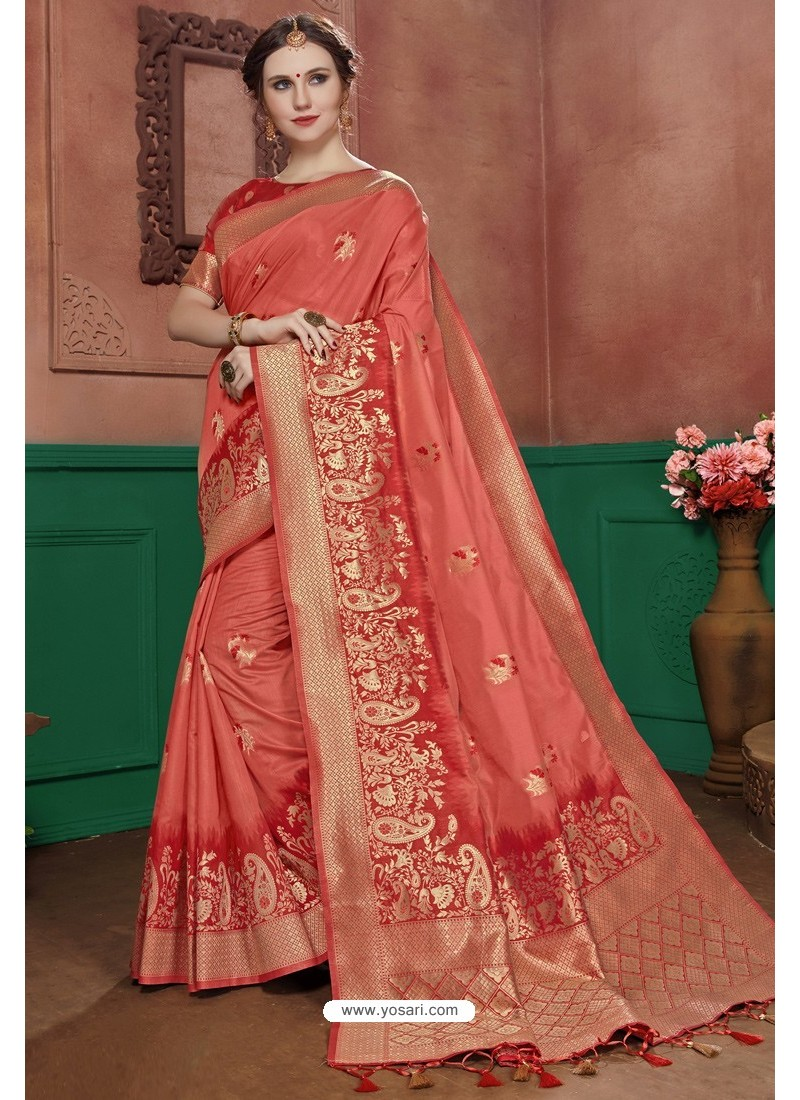 Light Red Banarasi Cotton Silk Designer Saree