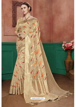 Beige Banarasi Cotton Silk Designer Saree