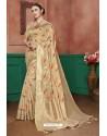 Beige Banarasi Cotton Silk Designer Saree
