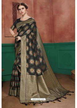 Black Banarasi Cotton Silk Designer Saree