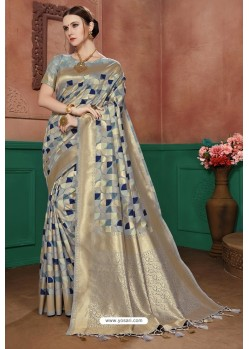 Grey Banarasi Cotton Silk Designer Saree