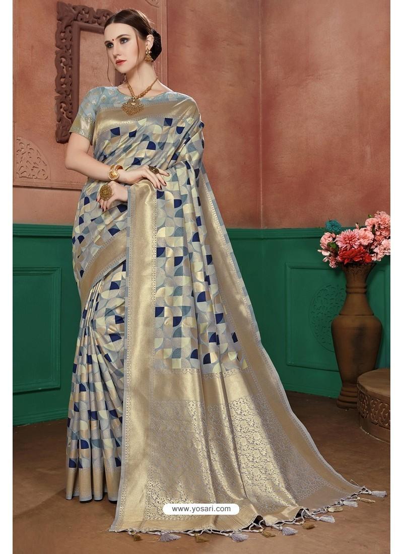 Grey Banarasi Cotton Silk Designer Saree