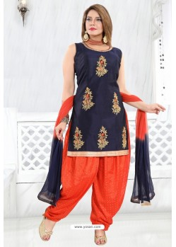 Navy And Orange Banglori Silk Designer Patiala Suit