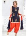 Navy And Orange Banglori Silk Designer Patiala Suit