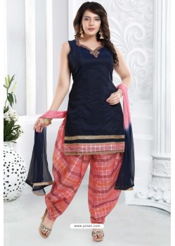 Navy And Pink Banglori Silk Designer Patiala Suit