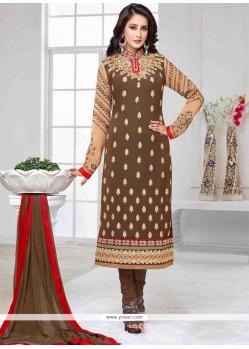 Pleasance Georgette Brown Churidar Designer Suit
