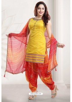 Yellow And Red Banglori Silk Designer Patiala Suit