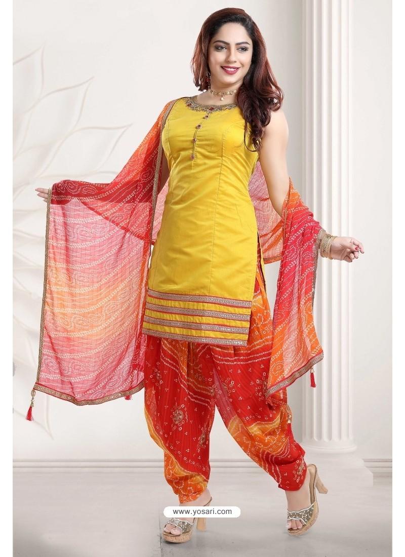 Yellow And Red Banglori Silk Designer Patiala Suit