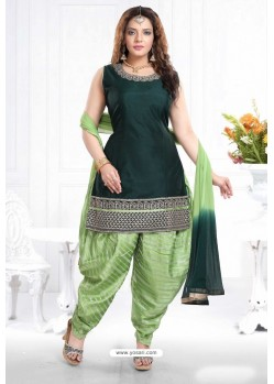 Dark Green And Pista Banglori Silk Designer Patiala Suit