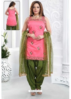 Pink And Mehendi Banglori Silk Designer Patiala Suit