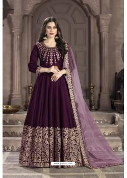 Deep Wine Adda Silk Embroidered Anarkali Suit