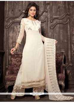 Elite Georgette White Embroidered Work Designer Palazzo Salwar Kameez