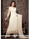 Elite Georgette White Embroidered Work Designer Palazzo Salwar Kameez