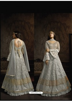 Grey Soft Net Designer Anarkali Suit