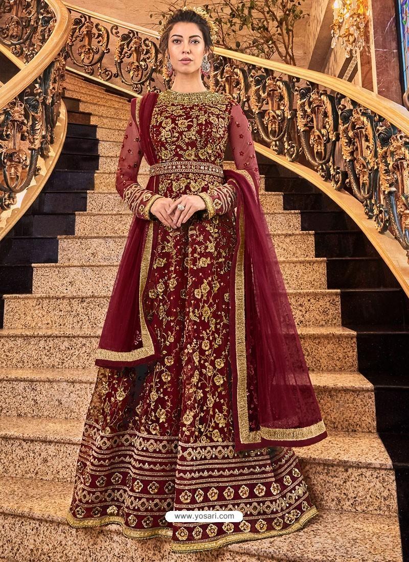 Maroon Soft Net Party Wear Anarkali Suit