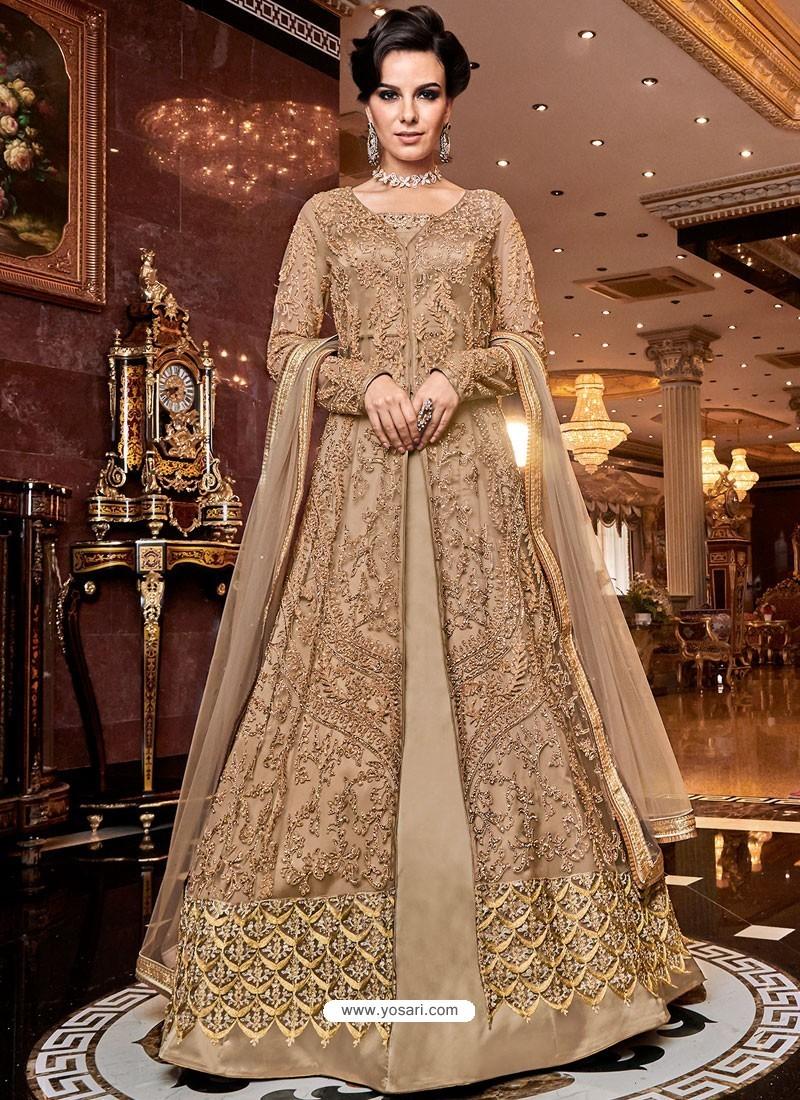 Beige Soft Net Party Wear Anarkali Suit