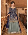 Navy Blue Soft Net Party Wear Sharara Suit