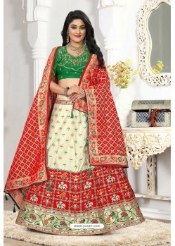 Off White And Red Silk Jacquard Designer Lehenga Choli