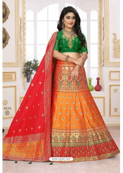 Orange And Green Silk Jacquard Designer Lehenga Choli