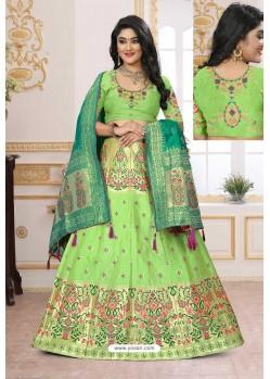 Parrot Green Silk Jacquard Designer Lehenga Choli