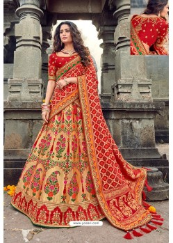 Red And Beige Silk Designer Lehenga Choli