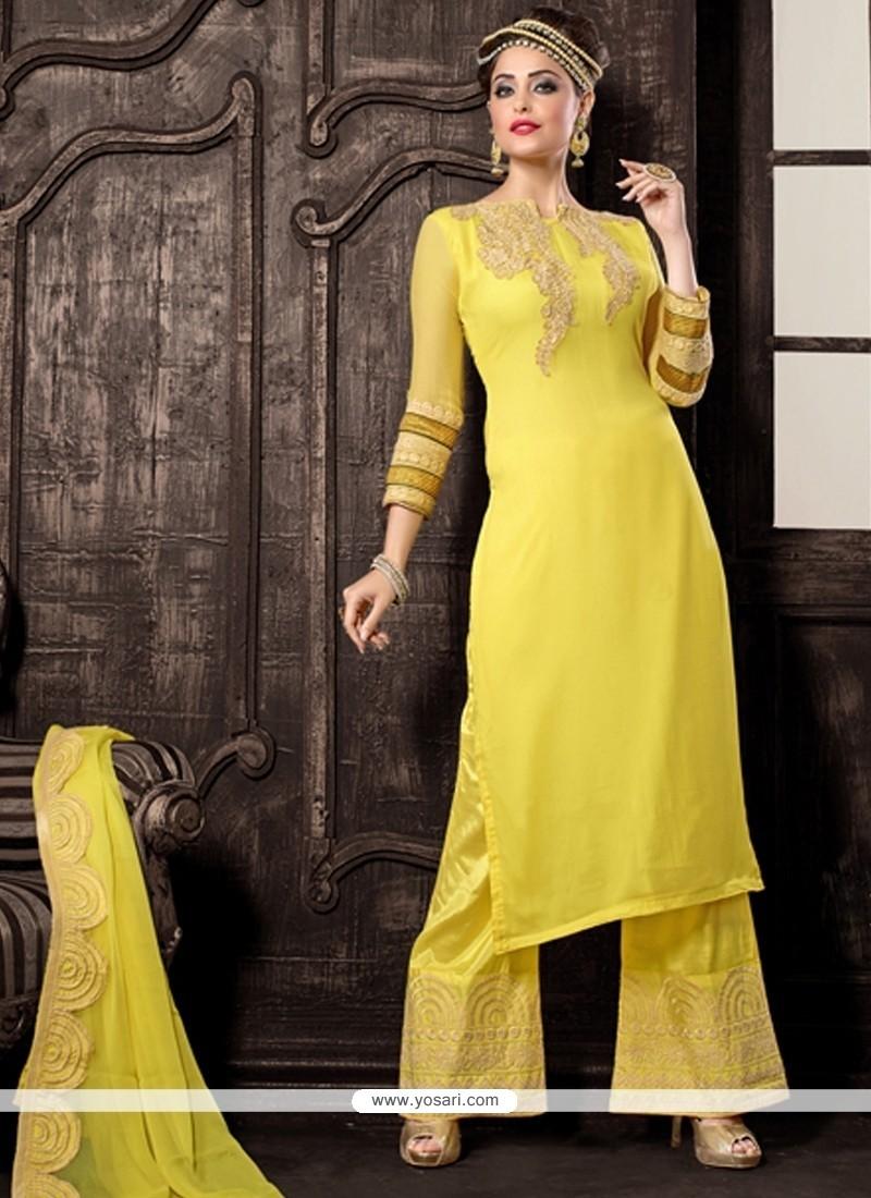 Beckoning Georgette Yellow Designer Palazzo Salwar Kameez