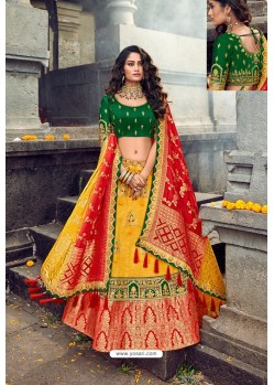 Yellow And Green Silk Designer Lehenga Choli
