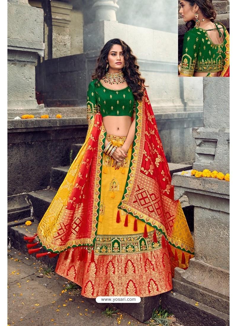 Yellow And Green Silk Designer Lehenga Choli