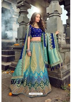 Sky Blue Silk Designer Lehenga Choli