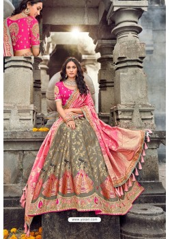 Light Brown And Pink Silk Designer Lehenga Choli