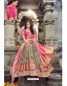 Light Brown And Pink Silk Designer Lehenga Choli