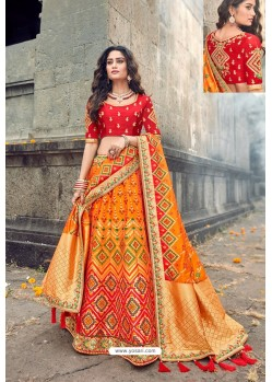 Red And Mustard Silk Designer Lehenga Choli