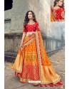 Red And Mustard Silk Designer Lehenga Choli