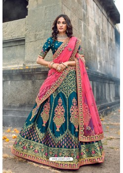 Teal Blue Silk Designer Lehenga Choli