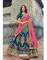 Teal Blue Silk Designer Lehenga Choli